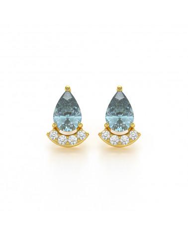 Pendientes  de Oro 14K Aguamarina y Diamantes