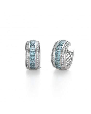 14K Gold Aquamarin Diamanten Ohrringe
