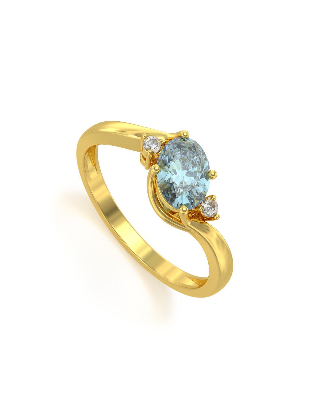 Anillo de Oro Aguamarina y diamantes 1.58grs