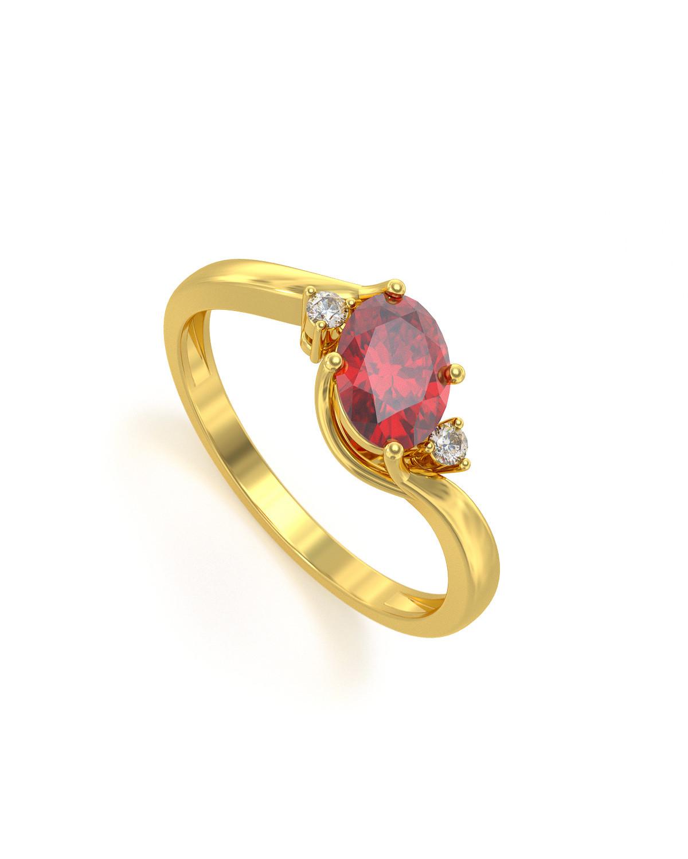 Anillo de Oro Rubi y diamantes 1.58grs