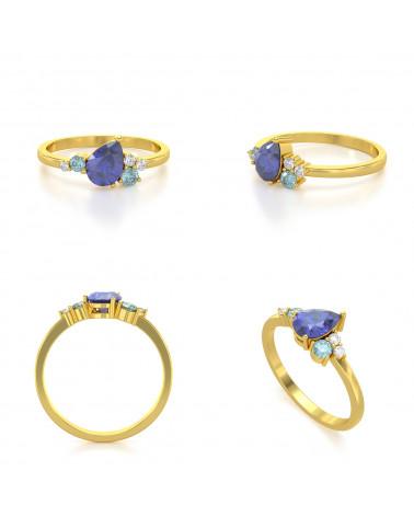 Anillo de Oro Tanzanita y diamantes