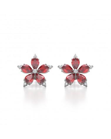 Gold Rubin Diamanten Ohrringe