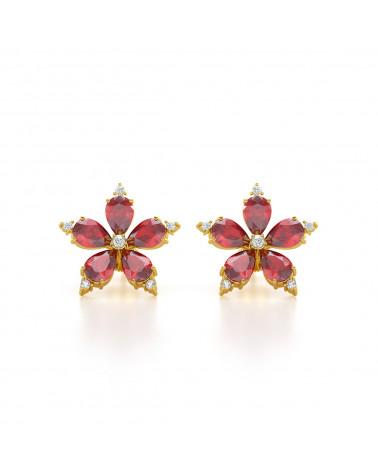 Pendientes de Oro Rubi y Diamantes