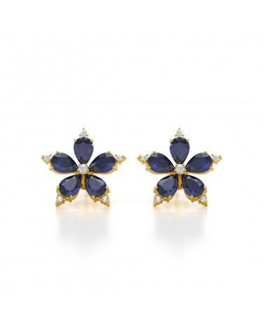 Orecchini in Oro Zaffiro y Diamanti
