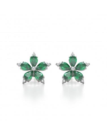 925 Silber Smaragd Diamanten Ohrringe