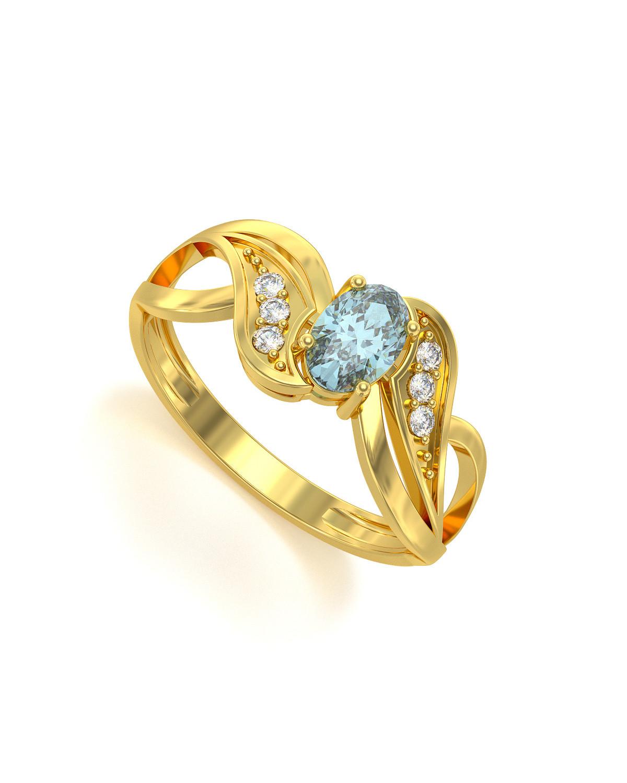 Anelli Oro Acquamarina diamanti 2.09grs