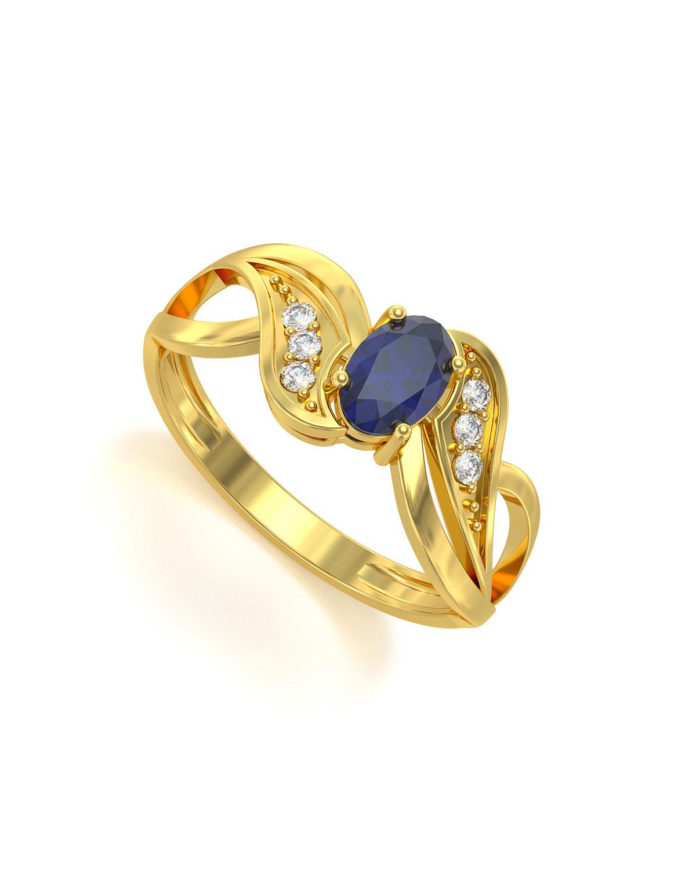 Anillo de Oro Zafiro y diamantes 2.09grs