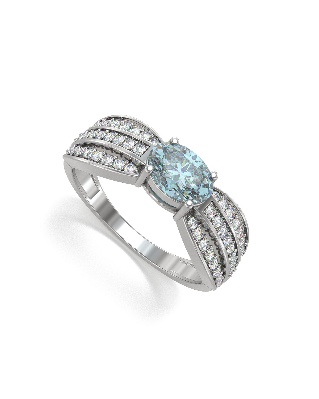 Anelli Acquamarina diamanti Argento 925 2.89grs