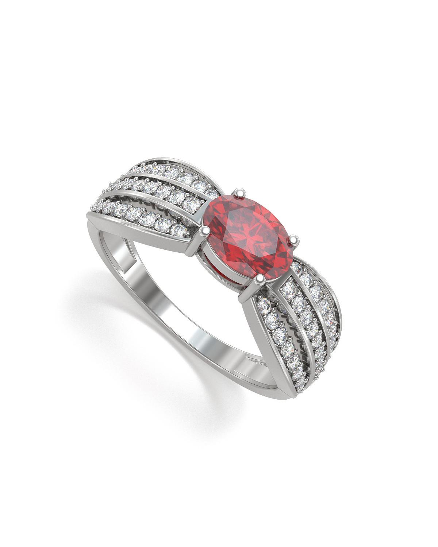 Anillo Rubi y diamantes Plata de Ley 925 2.89grs