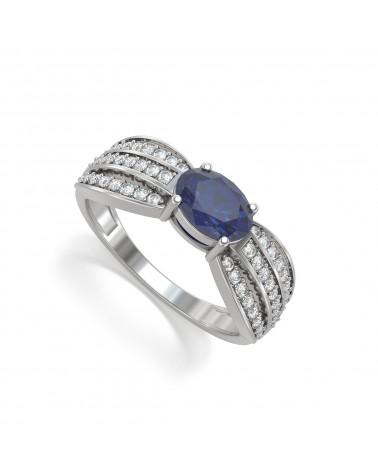 Anelli Smeraldo diamanti Argento 925 2.89grs