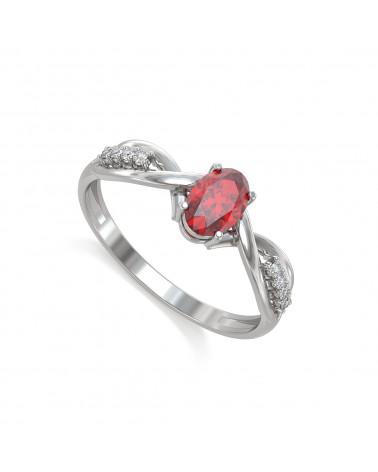 Anillo de compromiso 1 piedras de rubí reales con 4 diamantes en un anillo de plata rodio