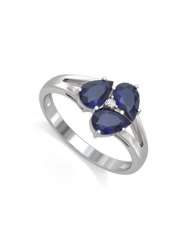 Anillo Zafiro y diamantes Plata de Ley 925 2.5grs
