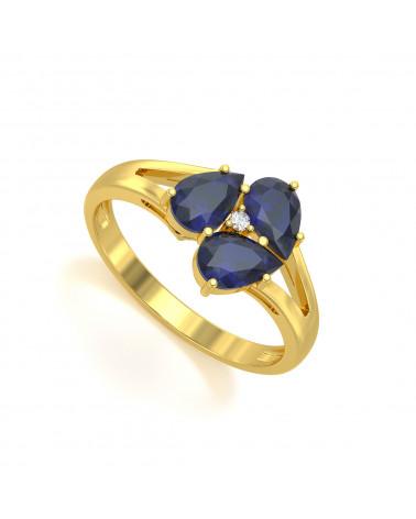Anelli Oro Zaffiro diamanti