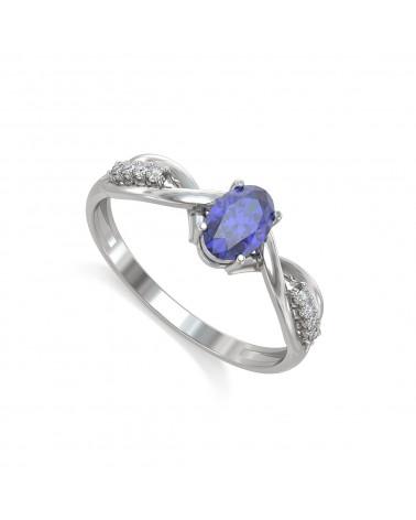 925 Silber Tanzanit Diamanten Ringe