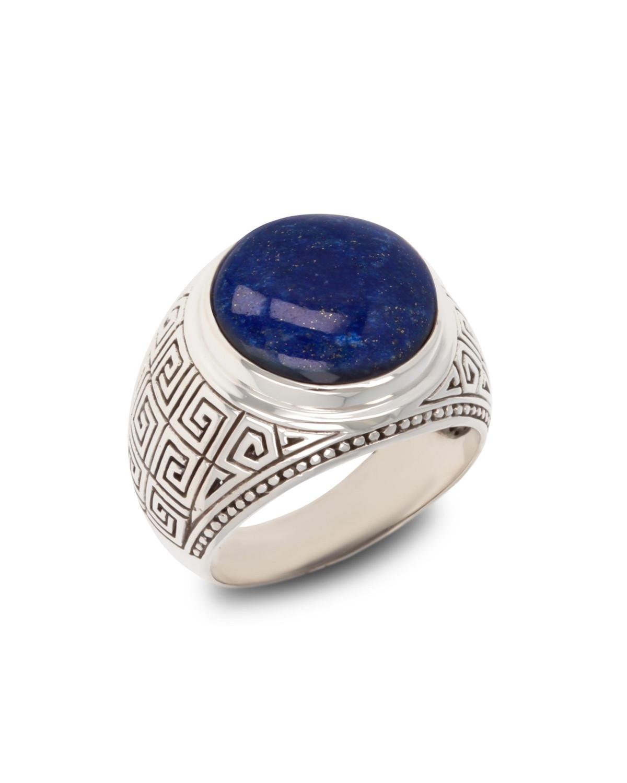 Gealterter Effekt 925 Sterlingsilber Lapis Lazuli Biker Ringe