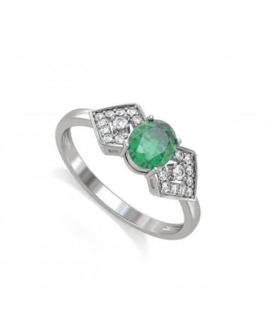 Anillo Esmeraldas y diamantes Plata de Ley 925