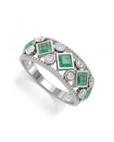 Anillo de Oro Esmeralda y diamantes