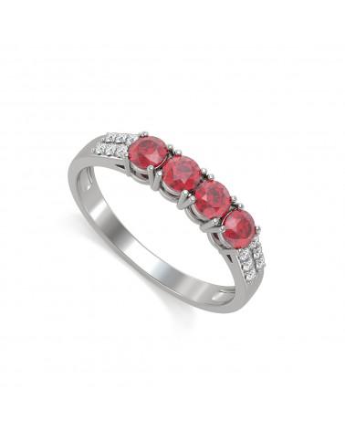 925 Silver Ruby Diamonds Ring