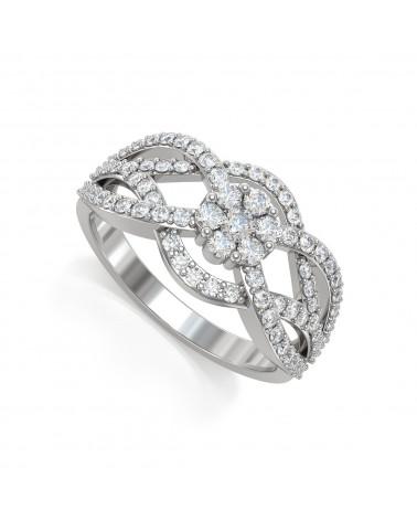 Anillo Diamantes Plata de Ley 925