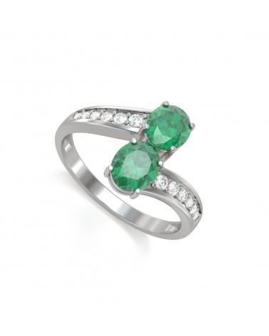 Anillo de Oro Esmeraldas y diamantes 2.546grs ADEN - 1