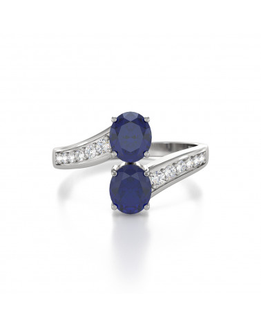 Anillo de Oro Zafiro y diamantes 2.546grs ADEN - 3