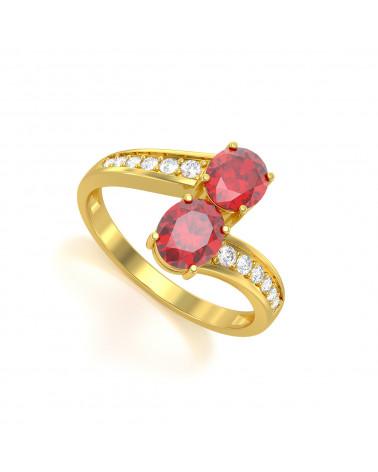 Anillo de Oro Rubi y diamantes 2.546grs ADEN - 1