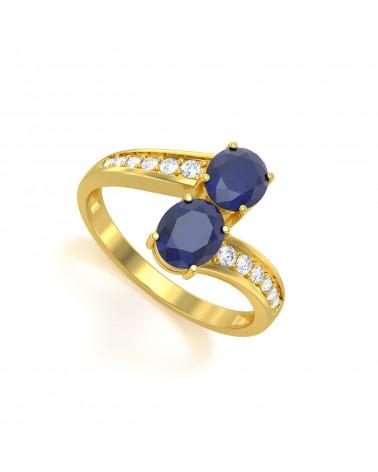 Anillo de Oro Zafiro y diamantes 2.546grs ADEN - 1