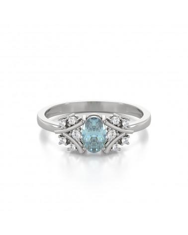 Anillo Aguamarina y diamantes Plata de Ley 925 ADEN - 3