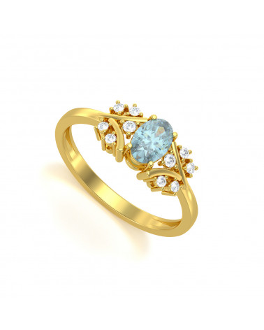 Anillo de Oro Aguamarina y diamantes 1.556grs ADEN - 1