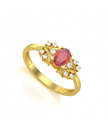 Anillo de Oro Rubi y diamantes 1.556grs ADEN - 1