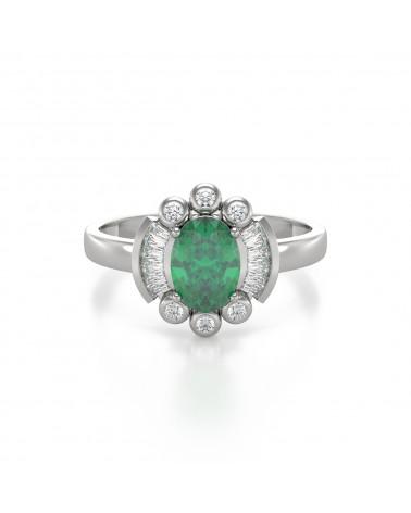 Anillo Esmeraldas y diamantes Plata de Ley 925 ADEN - 3