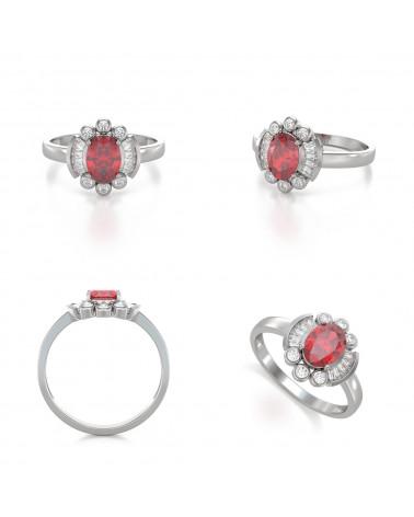 Anillo Rubi y diamantes Plata de Ley 925 ADEN - 2