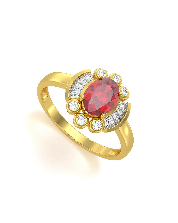 Anillo de Oro Rubi y diamantes