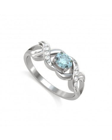 Anillo de Oro Aguamarine y diamantes 2.684grs ADEN - 1