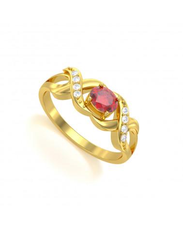 Anelli Oro Rubino diamanti 2.684grs ADEN - 1