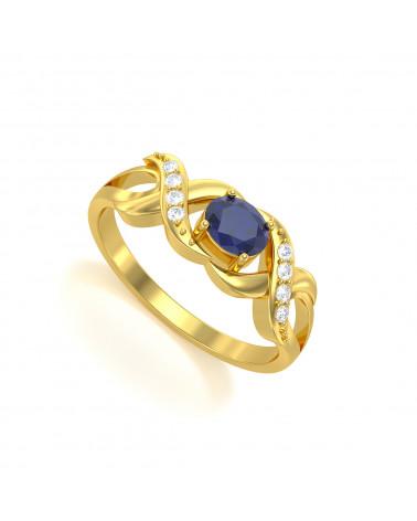 Anillo de Oro Zafiro y diamantes 2.684grs ADEN - 1