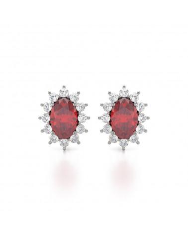 925 Silber Rubin Diamanten Ohrringe ADEN - 1