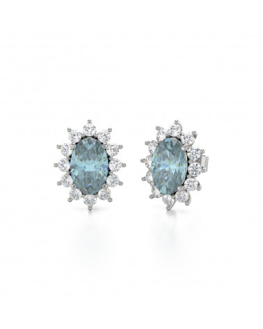 Pendientes Aguamarina y Diamantes Plate de Ley 925 ADEN - 3