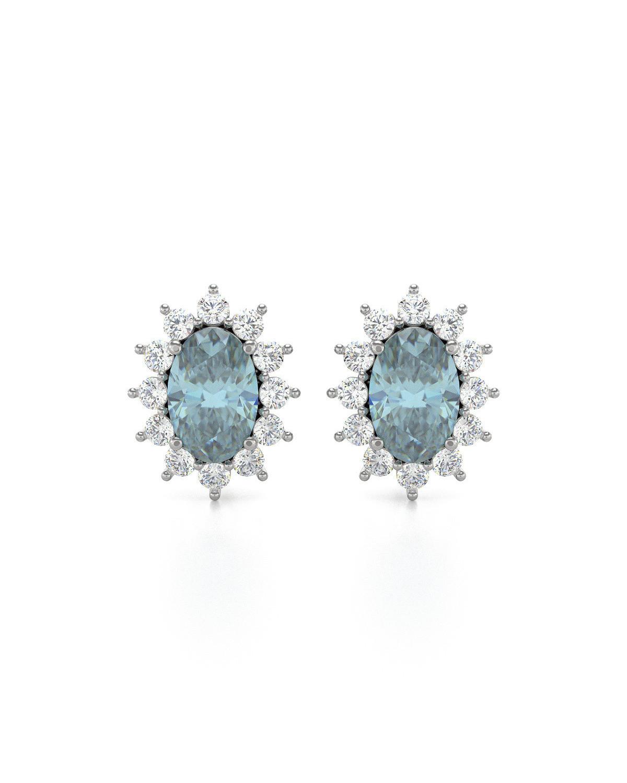 Pendientes Aguamarina y Diamantes Plate de Ley 925
