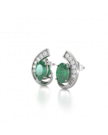 Orecchini in Smeraldo Diamanti Argento 925 ADEN - 4