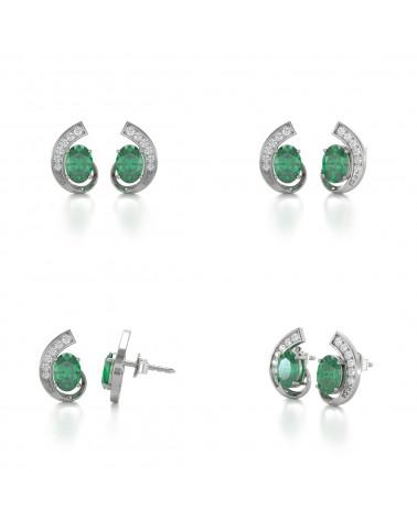 Orecchini in Smeraldo Diamanti Argento 925 ADEN - 2