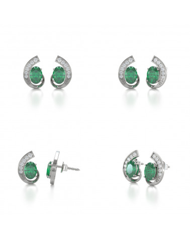 Pendientes  de Oro 14K Esmeralda y Diamantes ADEN - 2