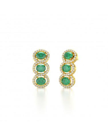Orecchini in Oro 14K Smeraldo Diamanti ADEN - 3