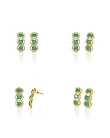 Orecchini in Oro 14K Smeraldo Diamanti ADEN - 2