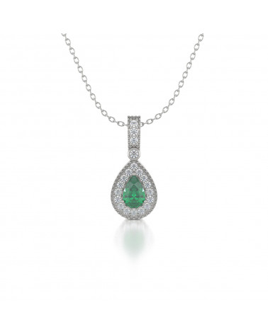 Collar Colgante Esmeralda y Diamantes Cadena Plata de Ley incluida ADEN - 1