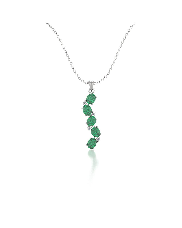 Collar Colgante Esmeralda y Diamantes Cadena Plata de Ley incluida