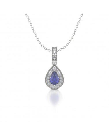 925 Silber Tanzanit Diamanten Halsketten Anhanger Silberkette enthalten ADEN - 1