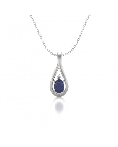 Colgante Pendente Zaffiro Diamanti Catena Argento inclusa ADEN - 1