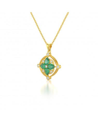 Colgante Pendente in Oro 14K Smeraldo Diamanti Catena Oro inclusa ADEN - 3