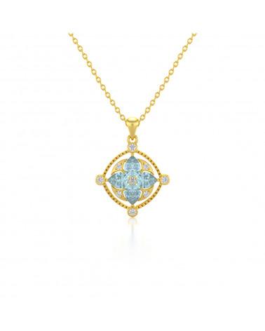 14K Gold Aquamarin Diamanten Halsketten Anhanger Goldkette enthalten ADEN - 1